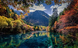 Preview wallpaper Lake, trees, mountains, autumn, beautiful nature