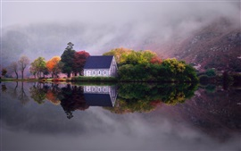 Preview wallpaper Lake, water reflection, house, trees, mountains, fog, morning, autumn