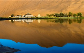 Lake, water, reflection, trees, houses, desert, China