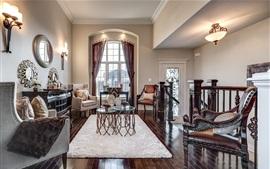 Sala de estar, ventana, alfombra, sillas, luces