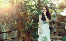 Long hair Asian girl, skirt, glasses, trees, nature