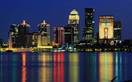 Louisville, USA, skyscrapers, lights, river, city night