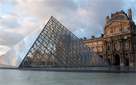 Louvre, glass pyramid, museum, buildings, France, Paris
