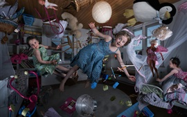 Preview wallpaper Magic house, child, girl, chair, toys, flying