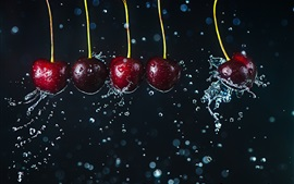 Preview wallpaper Many cherries, water drops, splash