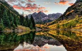 Preview wallpaper Maroon Bells, mountains, trees, lake, autumn, Colorado, USA
