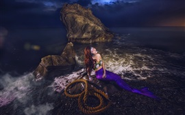 Preview wallpaper Mermaid, girl, rope, rocks, sea, art picture