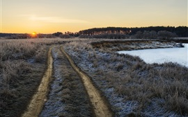 Preview wallpaper Morning, grass, path, pond, frost, sunrise