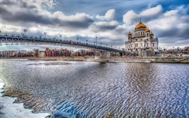 Preview wallpaper Moscow, Russia, river, bridge, buildings, HDR style