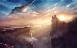 Preview wallpaper Mountains, fish, rocks, sun, clouds, fantasy world, art picture