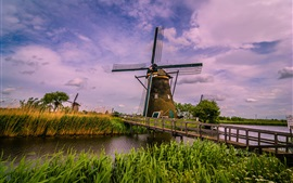 Netherlands, windmill, bridge, river, grass, clouds
