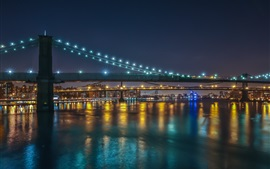 Preview wallpaper New York City, Manhattan, bridges, city night, illumination
