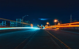 Night city road, lights