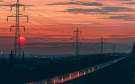 Night, power lines, dusk, red sky