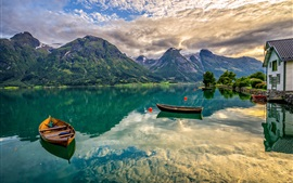 Preview wallpaper Norway, Oppstrynsvatn Lake, mountains, boats, house, water reflection