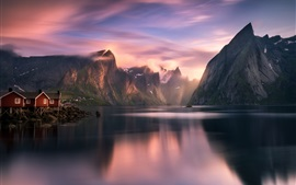 Norway, mountains, lake, fjord, houses, clouds, sunrise, morning