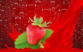 Preview wallpaper One fresh strawberry, bubbles