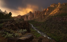 Орегон, США, каньон, кривая река, скалы, вечер