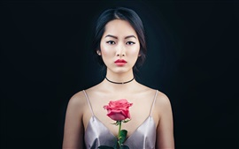 Oriental beautiful girl, portrait, makeup, rose