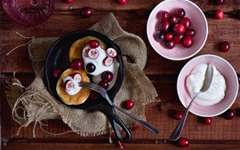 Preview wallpaper Pancake and red berries, cream, food