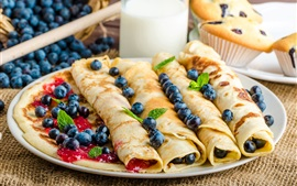 Preview wallpaper Pancakes rolls, blueberries, milk
