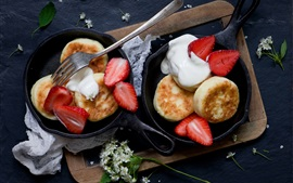Pancakes, strawberry, cream, flowers, food