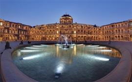 Париж, Франция, историческая архитектура, фонтан, ночь, огни