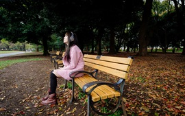 Preview wallpaper Park, bench, Asian girl listen music