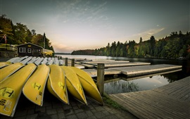 Preview wallpaper Pier, canoeing, boats, lake, hut