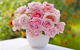 Preview wallpaper Pink roses, vase, bouquet