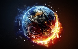 Preview wallpaper Planet destruction, fire, space
