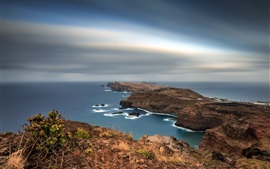Preview wallpaper Portugal, Madeira, Islands, coast, sea, dusk