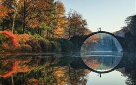 Preview wallpaper Rakotz, Germany, trees, autumn, river, bridge, water reflection