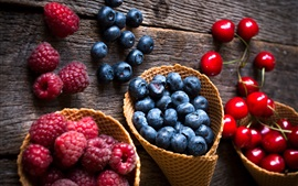 Preview wallpaper Raspberry, blueberry, cherry, fresh fruit