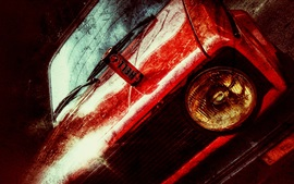 Preview wallpaper Red car front view, texture