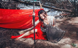 Preview wallpaper Red dress Asian girl, sword, shield
