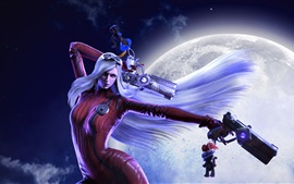 Preview wallpaper Red dress fantasy girl, white hair, gun, moon