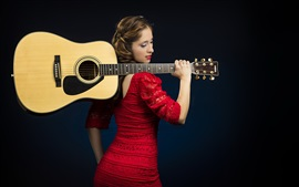 Preview wallpaper Red dress girl, guitar