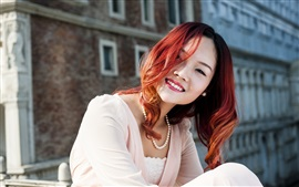 Preview wallpaper Red hair Asian girl smile, jewels