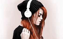 Red hair girl, headphones, listen music, art drawing