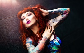 Preview wallpaper Red hair girl, makeup, tattoo