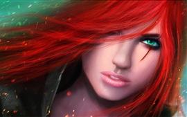 Красные волосы зеленые глаза девушка, фантазия