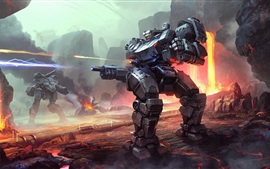 Preview wallpaper Robot, war, lava, art picture
