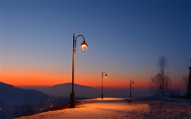Preview wallpaper Romania, Brasov Fortress, dusk, snow, lights