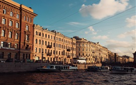 Preview wallpaper Saint Petersburg, river, boats, buildings, Russian
