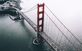 San Francisco, USA, bridge, cars, sea, top view