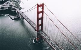 Сан-Франциско, США, мост, автомобили, море, вид сверху