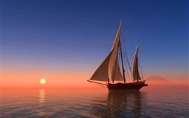Mer, voilier, coucher de soleil