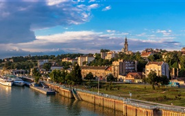 Preview wallpaper Serbia, Belgrade, ships, pier, river, houses, city