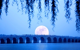 Мост 17-арк, озеро, луна, Летний дворец, Пекин, Китай